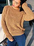 Вязаный свитер с ажурным рисунком, 42-46 рр, цвет бутылочный, фото 2