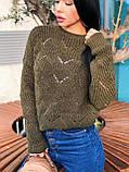 Вязаный свитер с ажурным рисунком, 42-46 рр, цвет бутылочный, фото 3