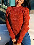 Вязаный свитер с ажурным рисунком, 42-46 рр, цвет бутылочный, фото 4