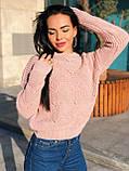 Вязаный свитер с ажурным рисунком, 42-46 рр, цвет бутылочный, фото 5
