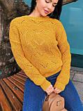 Вязаный свитер с ажурным рисунком, 42-46 рр, цвет бутылочный, фото 6