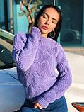Вязаный свитер с ажурным рисунком, 42-46 рр, цвет бутылочный, фото 7