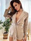 Модный женский комплект пиджак и шортики из льна, S/M/L, нежно-розовая полоска, фото 3