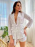 Модный женский комплект пиджак и шортики из льна, S/M/L, нежно-розовая полоска, фото 5