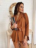 Легкий стильный комплект пиджак и шортики из льна, S/M/L, белая клетка, фото 3