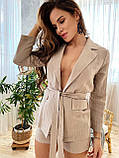 Легкий стильный комплект пиджак и шортики из льна, S/M/L, белая клетка, фото 4