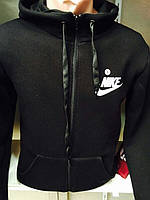 Спортивная мужская кофта с капюшоном на замке  Найк  черного цвета