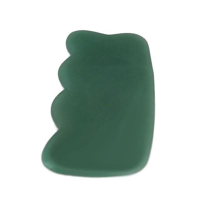 Массажер-скребок ГуаШа из натурального камня Нефрит 5х9см