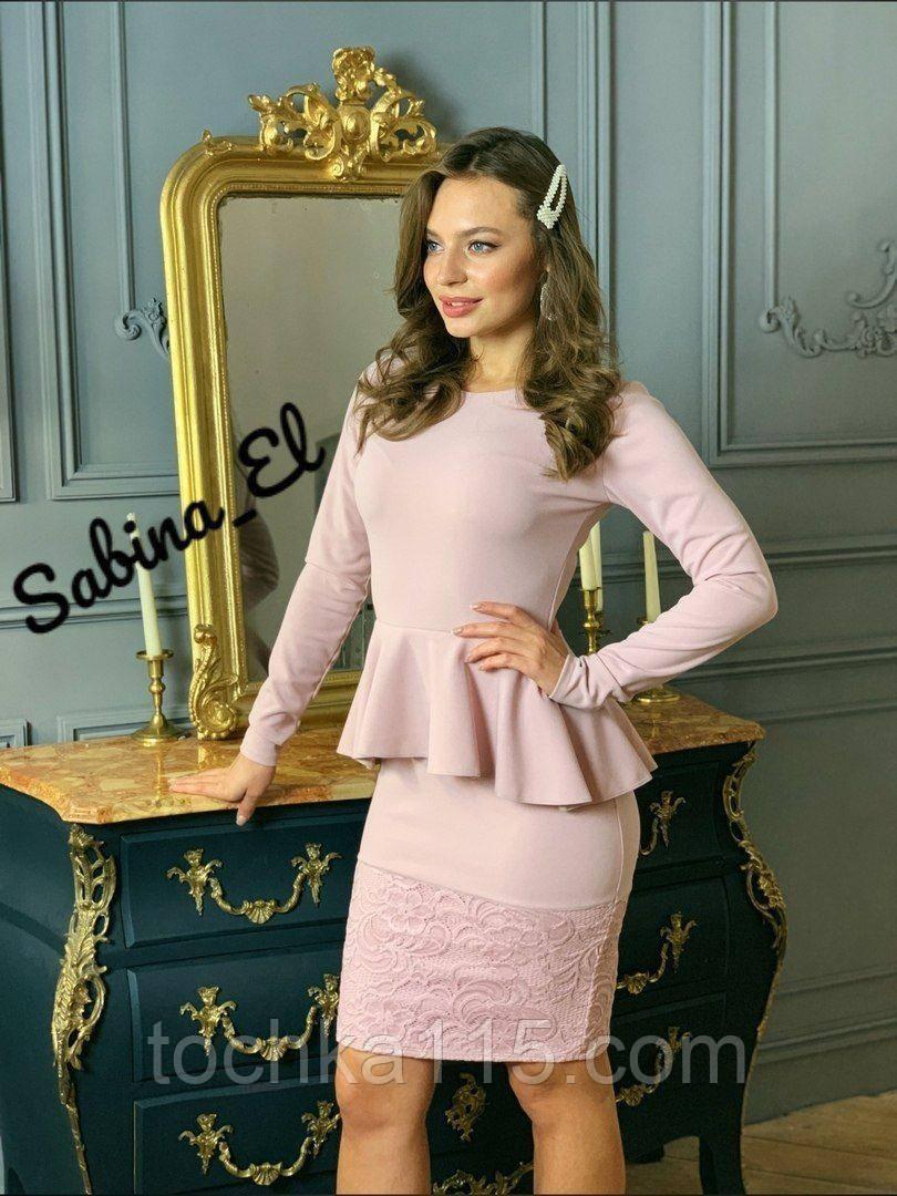 Жіноча класичне плаття з креп дайвінг з набивним гіпюром S/M/L/XL