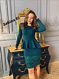 Жіноча класичне плаття з креп дайвінг з набивним гіпюром S/M/L/XL, фото 2