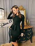 Жіноча класичне плаття з креп дайвінг з набивним гіпюром S/M/L/XL, фото 4