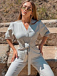 Потрясающий женский комбинезон, лен 42-44, 46-48 рр, джинс, фото 3