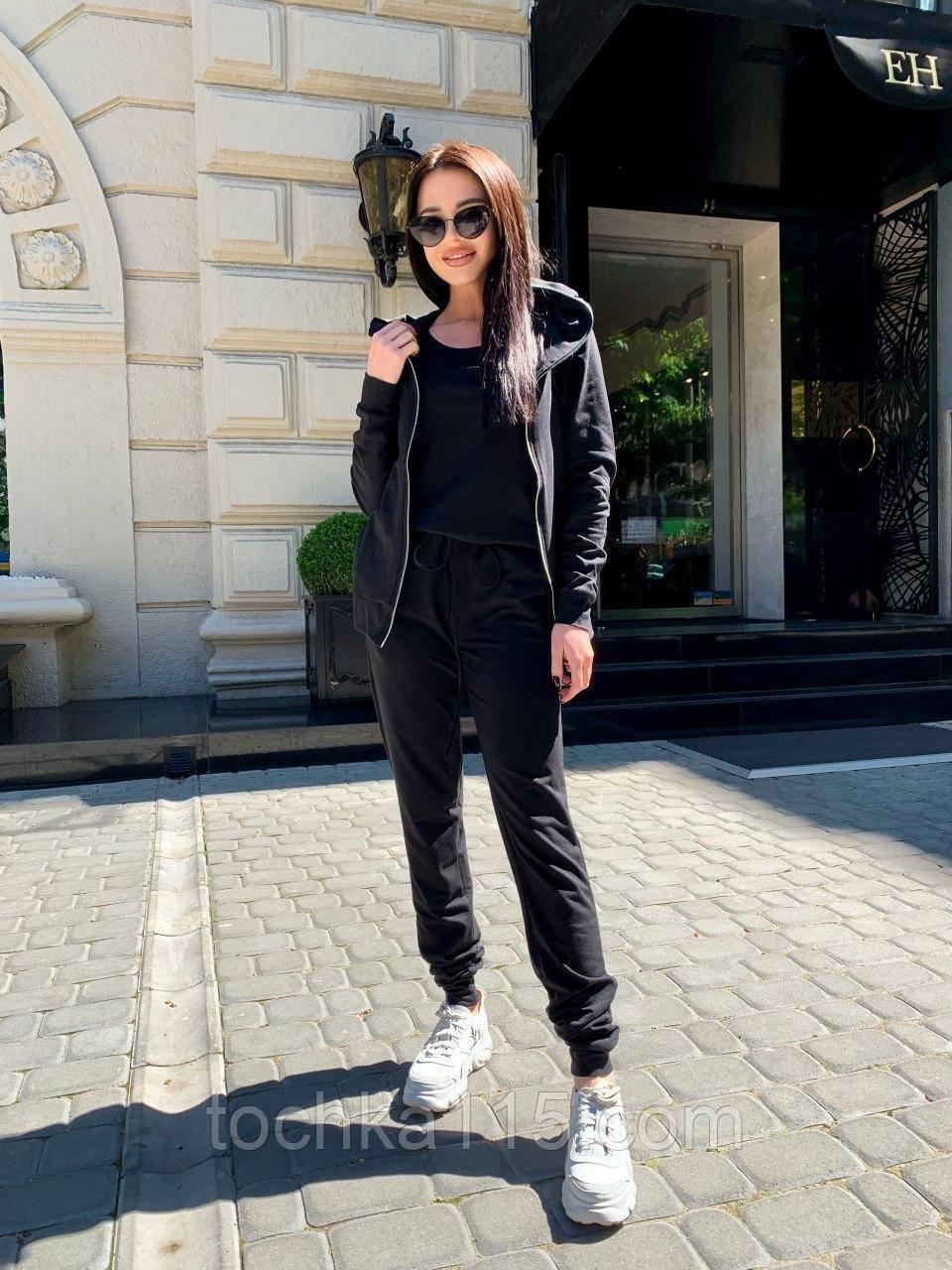 Стильный женский костюм тройка, двухнить, S/M/L, черный