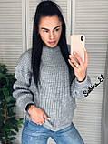 Універсальний жіночий светр, теплий, 42-48 р, колір березовий, фото 4