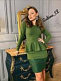 Стильне класичне плаття з креп дайвінг з набивним гіпюром S/M/L/XL, фото 2