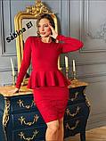 Стильне класичне плаття з креп дайвінг з набивним гіпюром S/M/L/XL, фото 5