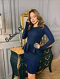 Стильне класичне плаття з креп дайвінг з набивним гіпюром S/M/L/XL, фото 6