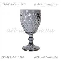 """Декоративный бокал из крашенного стекла """"Rhombus small"""" серебро, бокал цветной, бокал декоративный"""