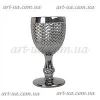"""Декоративный бокал из крашенного стекла """"Versailles"""" серебро, бокал цветной, бокал декоративный"""