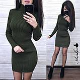 Красивое вязанное Платье-гольф, подчеркнет достоинства, 42-48 р, цвет черный, фото 2