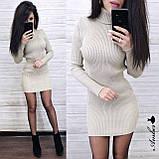 Красивое вязанное Платье-гольф, подчеркнет достоинства, 42-48 р, цвет черный, фото 4