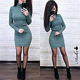 Стильное вязанное Платье-гольф, подчеркнет достоинства, 42-48 р, цвет бежевый, фото 2