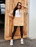 Теплое стильное женское худи, флис, 42-44, 46-48рр, цвет розовый, фото 2