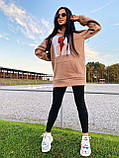 Тепле стильне жіноче худі, фліс, 42-44, 46-48рр, колір рожевий, фото 6