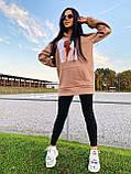 Теплое стильное женское худи, флис, 42-44, 46-48рр, цвет розовый, фото 6