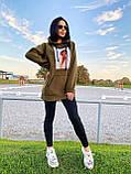 Теплое стильное женское худи, флис, 42-44, 46-48рр, цвет розовый, фото 7