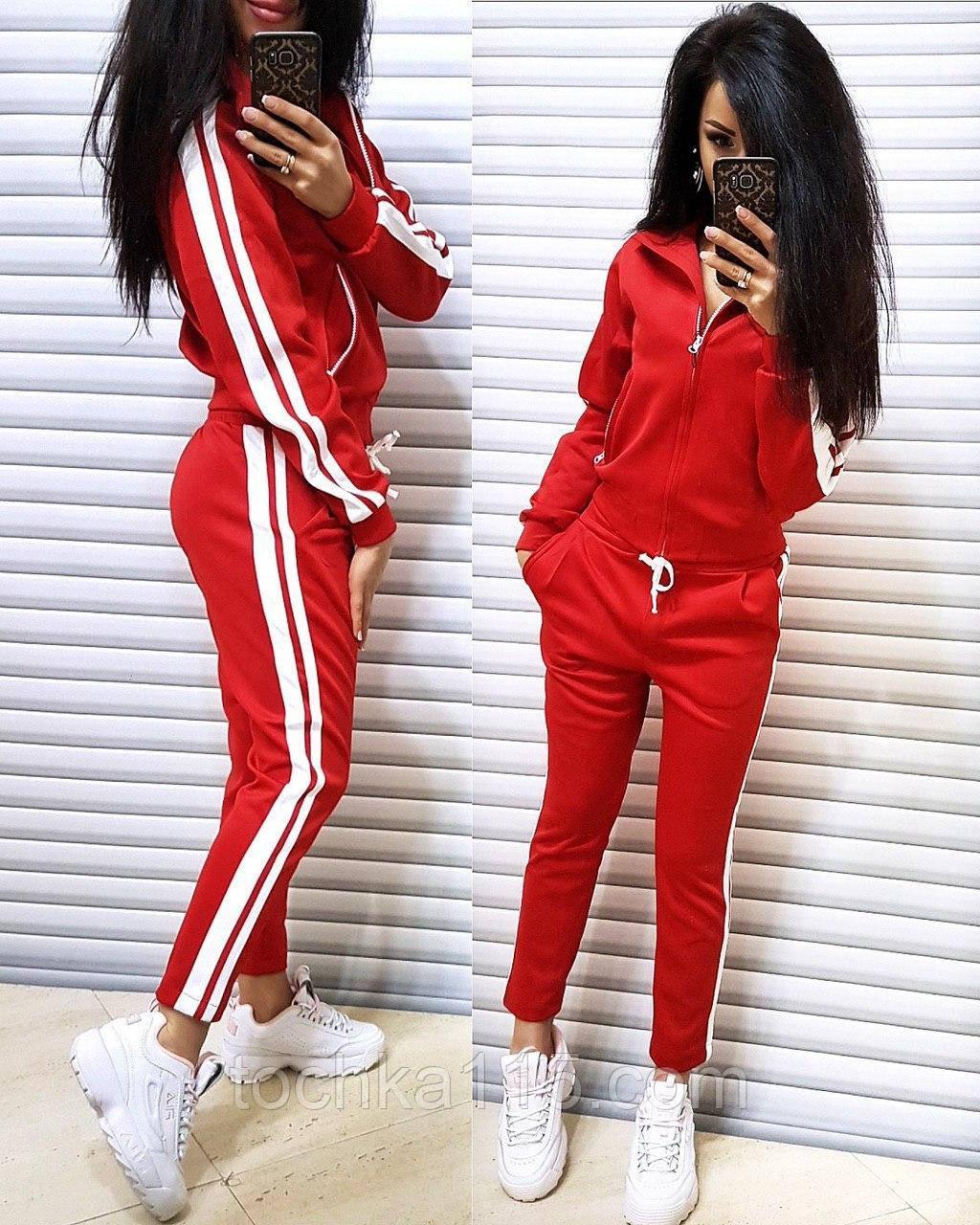 Удобный, стильный спортивный костюм, двухнить, S/M/L, цвет красный