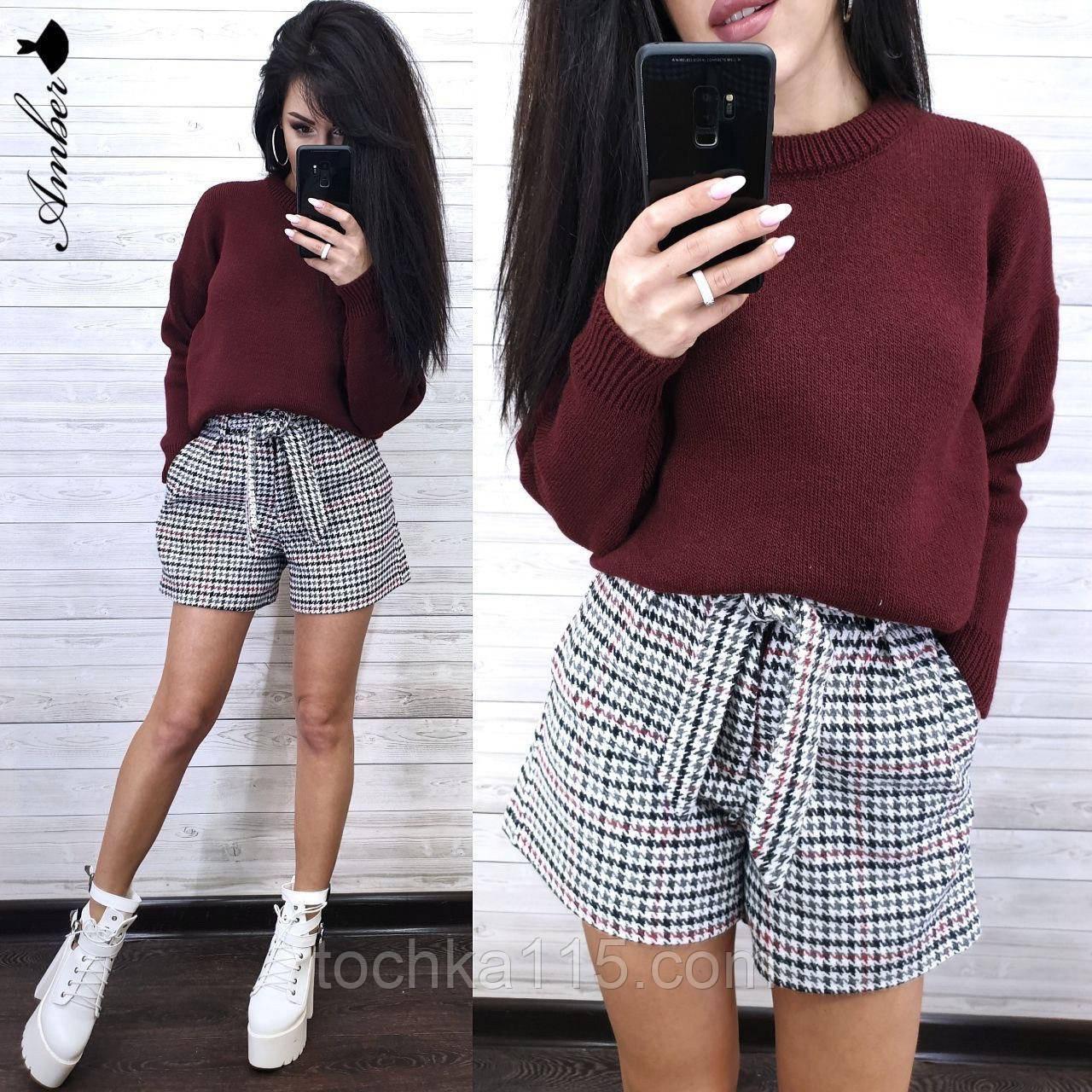 Стильный вязаный свитер, очень теплый, 42-46 рр, цвет бордо