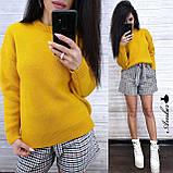 Стильный вязаный свитер, очень теплый, 42-46 рр, цвет бордо, фото 6