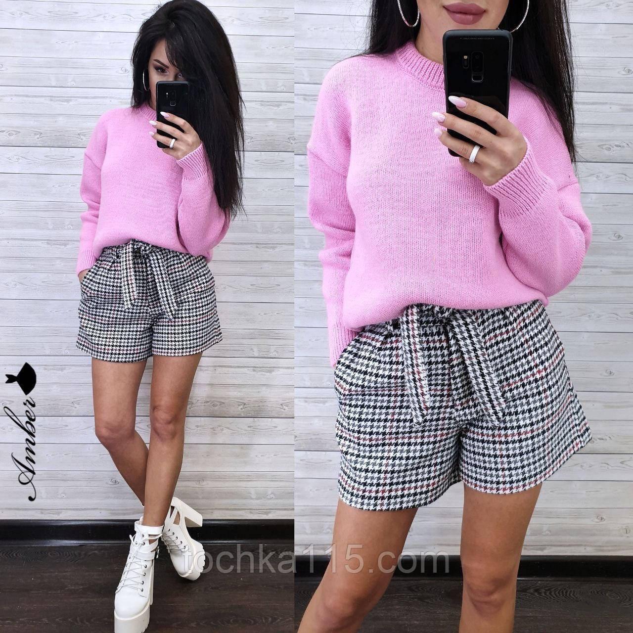 Стильный вязаный свитер, очень теплый, 42-46 рр, цвет лиловый