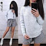 Стильний в'язаний светр, дуже теплий, 42-46 рр, колір ліловий, фото 3