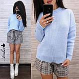 Стильный вязаный свитер, очень теплый, 42-46 рр, цвет лиловый, фото 5