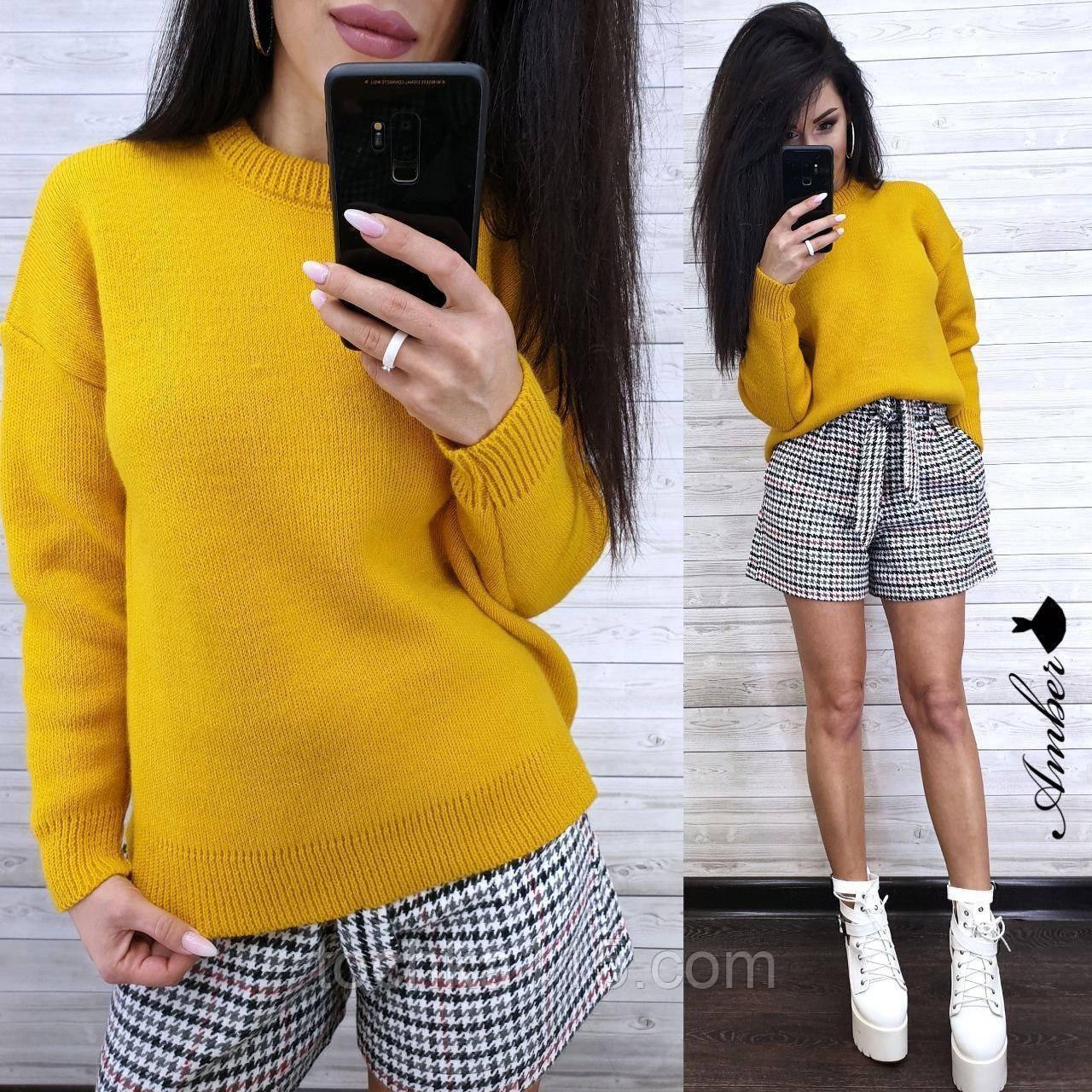 Теплый вязаный свитер, 42-46 рр, цвет горчичный