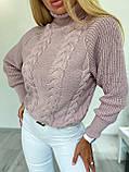 Стильный вязаный свитер с объёмными рукавами , теплый, 42-46 р, цвет пудра, фото 5