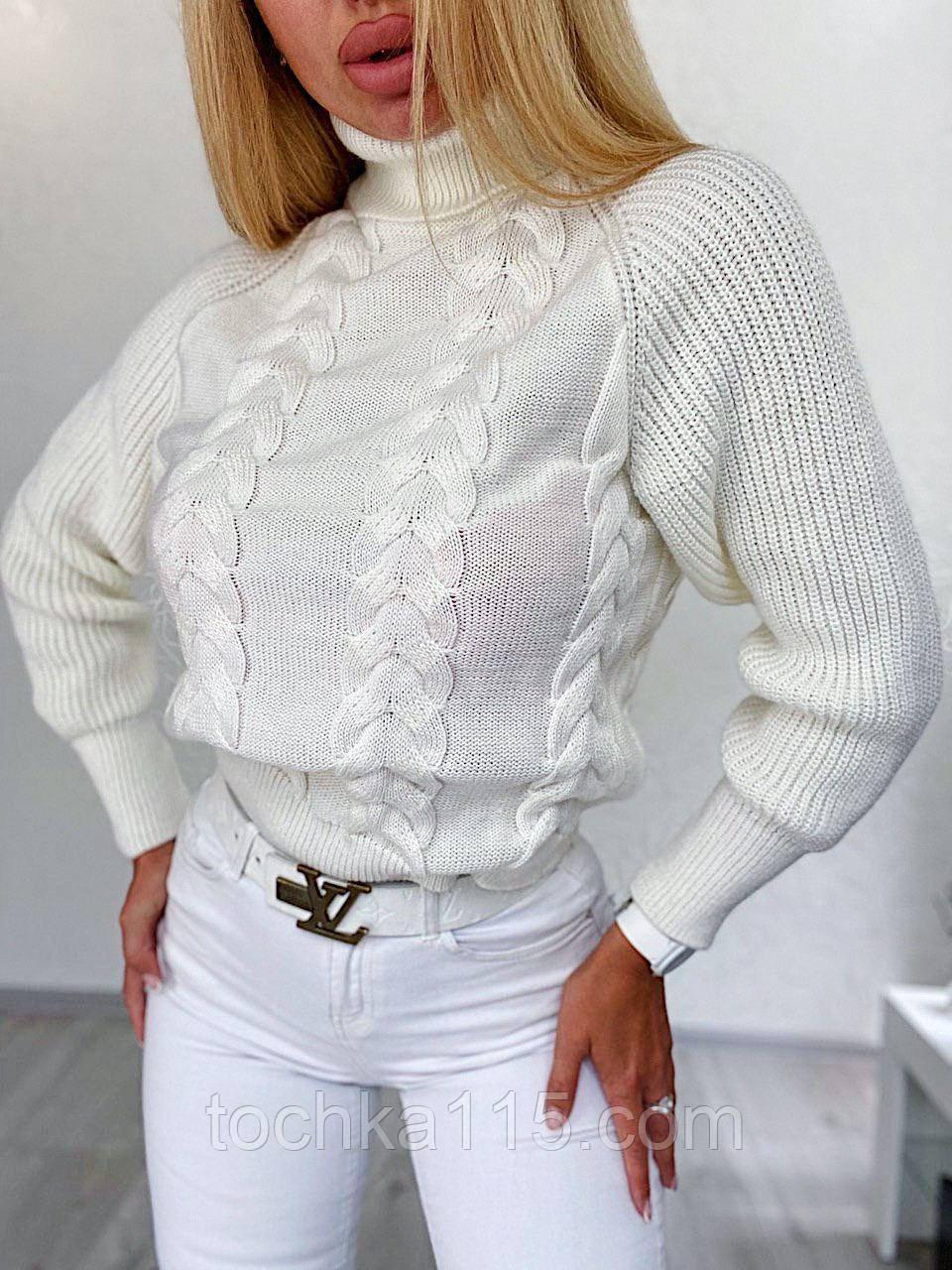 Стильний в'язаний светр з об'ємними рукавами , теплий, 42-46 р, колір білий