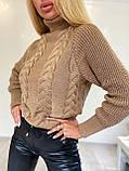 Стильний в'язаний светр з об'ємними рукавами , теплий, 42-46 р, колір білий, фото 4