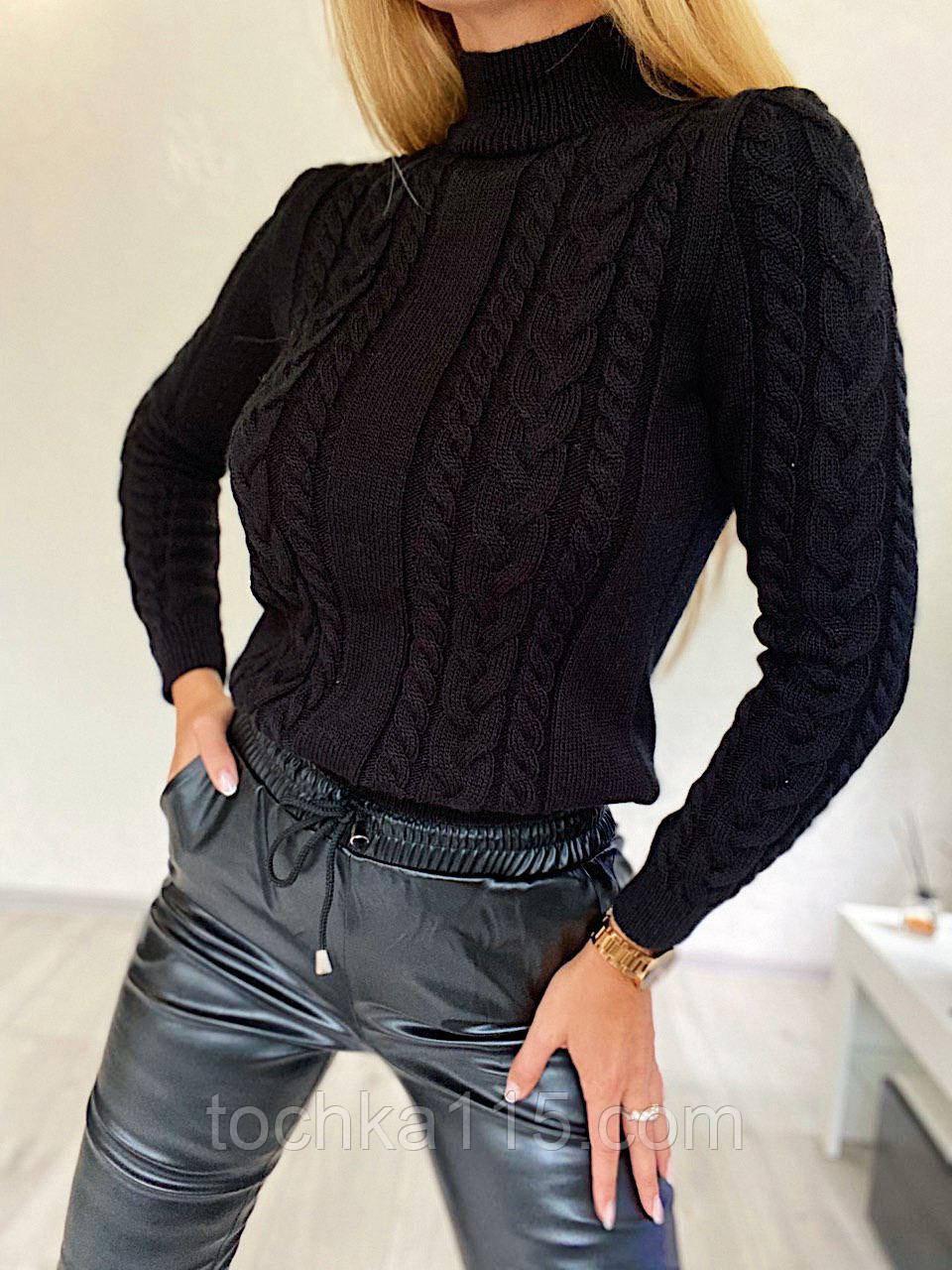 Стильний в'язаний светр з об'ємними рукавами , теплий, 42-46 р, колір чорний