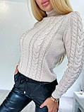 Стильний в'язаний светр з об'ємними рукавами , теплий, 42-46 р, колір чорний, фото 2