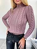 Стильний в'язаний светр з об'ємними рукавами , теплий, 42-46 р, колір чорний, фото 3
