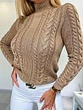 Стильний в'язаний светр з об'ємними рукавами , теплий, 42-46 р, колір чорний, фото 4
