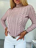 Стильний в'язаний светр з об'ємними рукавами , теплий, 42-46 р, колір чорний, фото 5