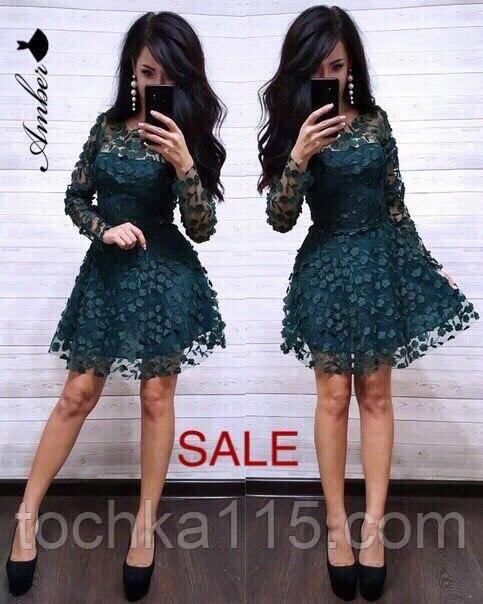 Праздничное женское платье, сетка декорированная цветками +подкладка, S/M, цвет изумрудный