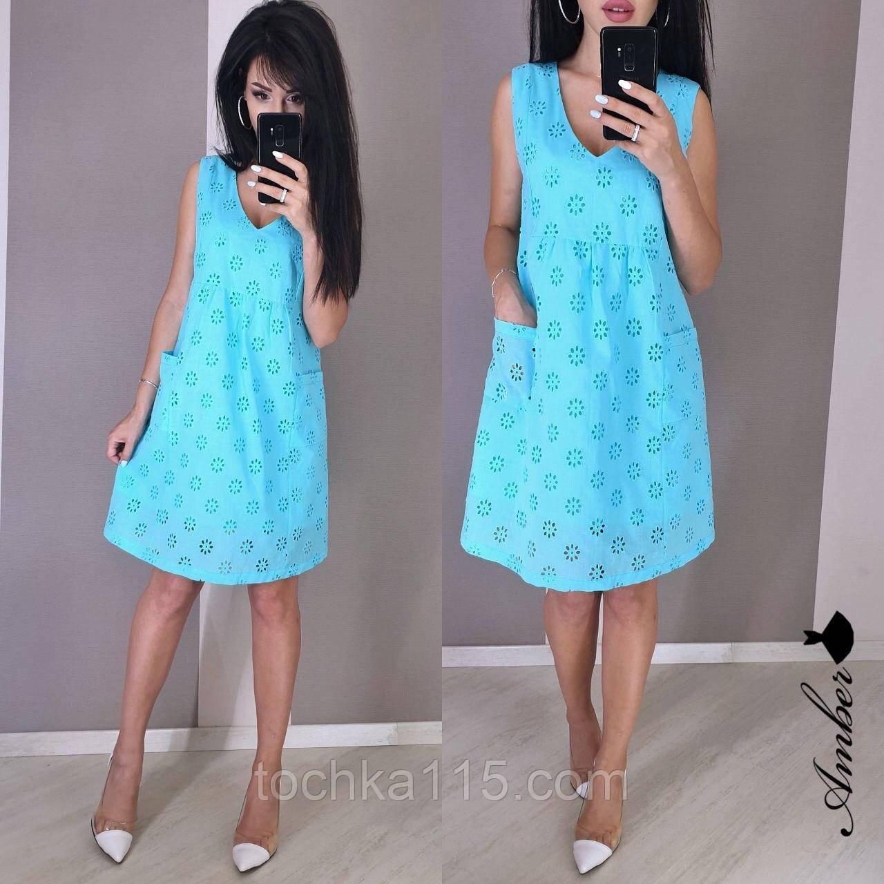Стильное летнее платье, ткань батист, 42-44, 44-46 рр, голубой