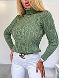 Теплий жіночий в'язаний гольф косами, 42-46 р, колір пудра, фото 3