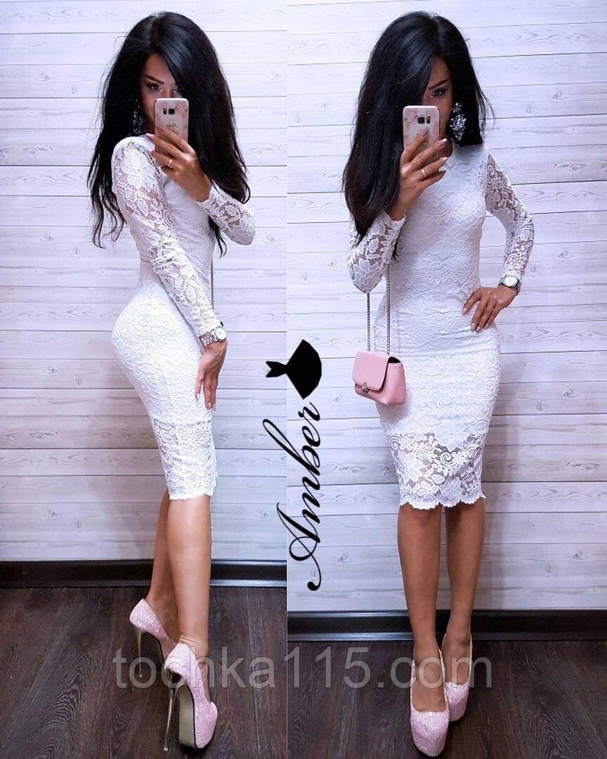 Потрясающее женское платье, ткань гипюр, S/M/L, белый