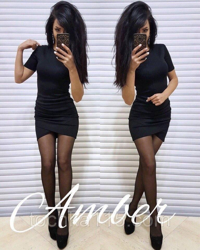 Красивое женское платье, ткань джерси на дайвинге, S/M, черный